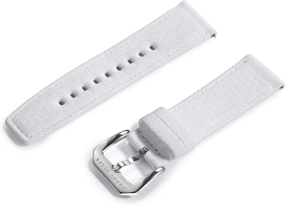 Perry Ellis Correa de reloj de liberación rápida de repuesto de tela vaquera de 24 mm con bandas de cuero Genius para reloj inteligente para hombres y mujeres