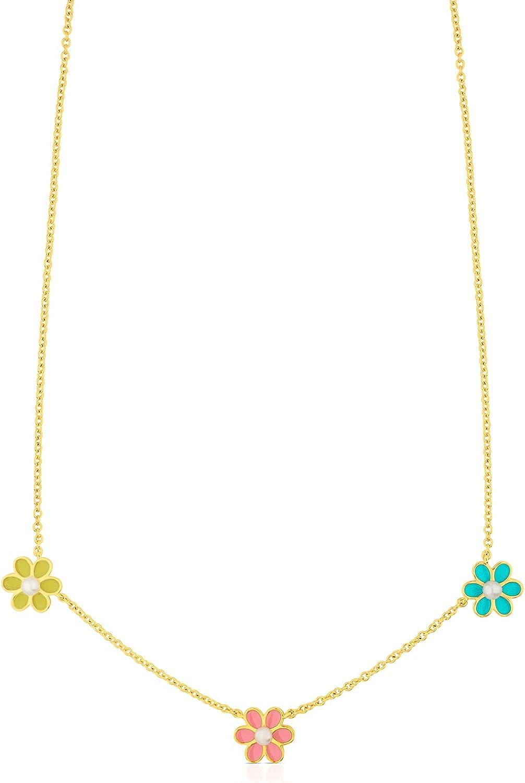 TOUS Collar Happy Moments, cadena Mujer vermeil con perlas cultivadas y esmalte
