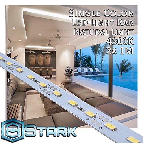 Case Natural Light - Aluminum LED Solid Strips - Interior Design Lighting - Natural Light - 4300K - 2 Set (2M/6.6FT)