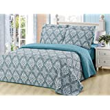 Dream Bedding 6 Pc's Vector Seamless Damask Pattern Queen Sized Quilt Set