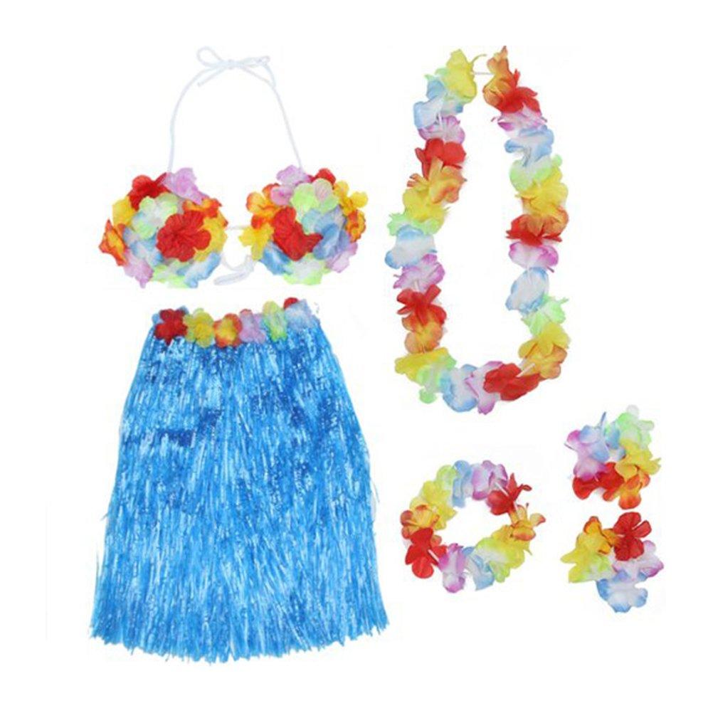 Tinksky Hawaiian Set Luau Hula Skirt Bra Garland Wristband Headband Necklace (Blue) ZS03163930TCG1G5014