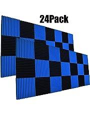 "24 Pack- Charcoal Acoustic Panels Studio Foam Wedges 1"" X 12"" X 12"" (black&blue)"