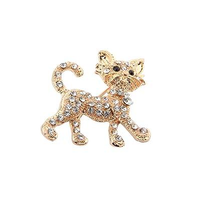 Amazon.com: FEELMEM - Broche de gato con cristales de estrás ...