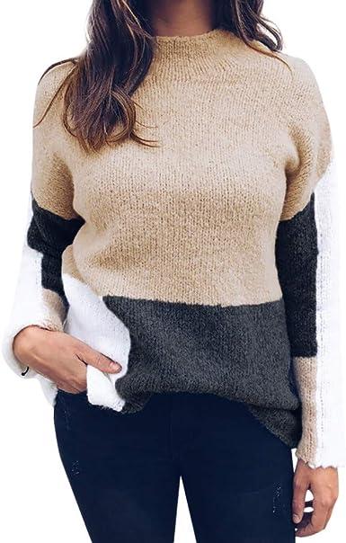 VJGOAL Mujer Otoño e Invierno Moda Casual Color sólido Costura Color Jersey de Manga Larga O Cuello Delgado Suéter Suave y cómodo Suéter Blusa Tops