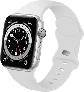 Distore Bands Compatible with Apple Watch 38mm 40mm 42mm 44mm, Soft Silicone Replacement Sport Strap for iWatch SE Series 6/5/4/3/2/1 Women Men, White 38mm/40mm S/M