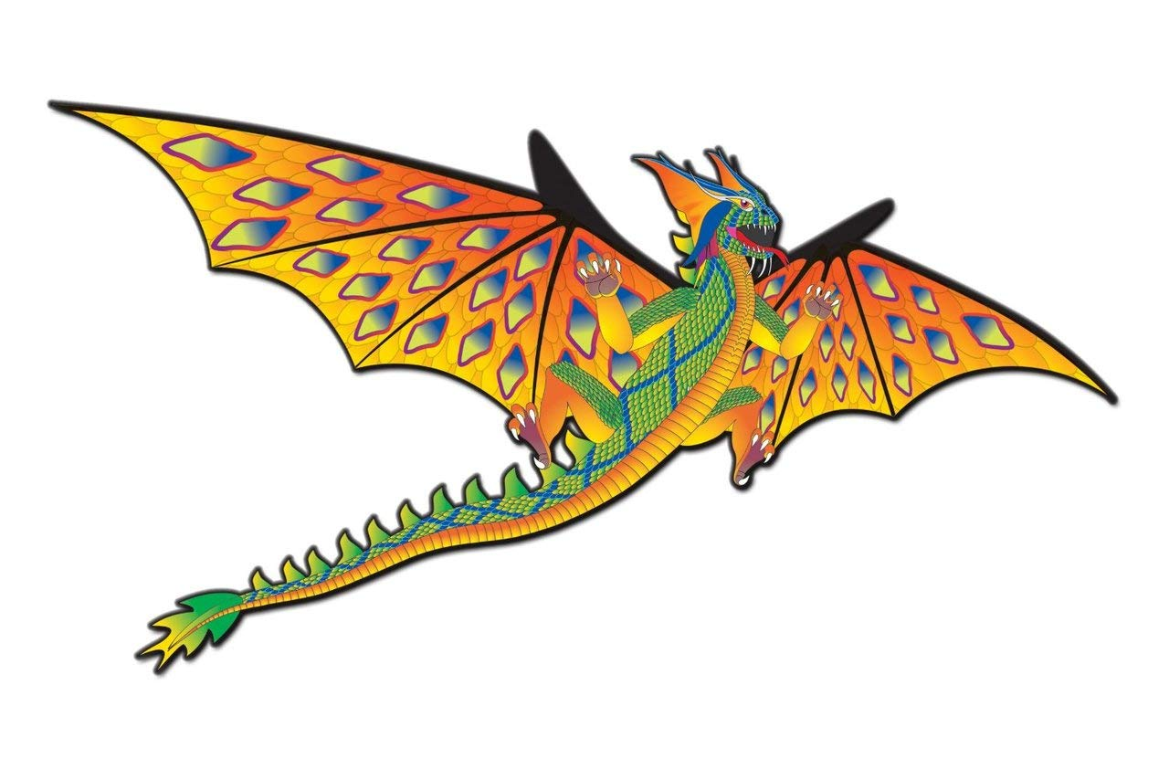 Brainstorm X Kites-76 Wingspan 3-d Kite: Yellow and Green Dragon