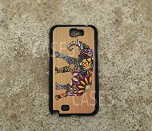 SAMSUNG Galaxy NOTE 2 Case Elephant on WOOD Designer BEST COOLEST Note ii Hard COVER