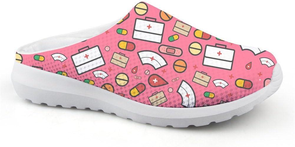 Coloranimal Cartoon Nurse Printed Mule Clogs Für Damen Slip On Sandalen Ohne Rücken Schuhe Handtaschen