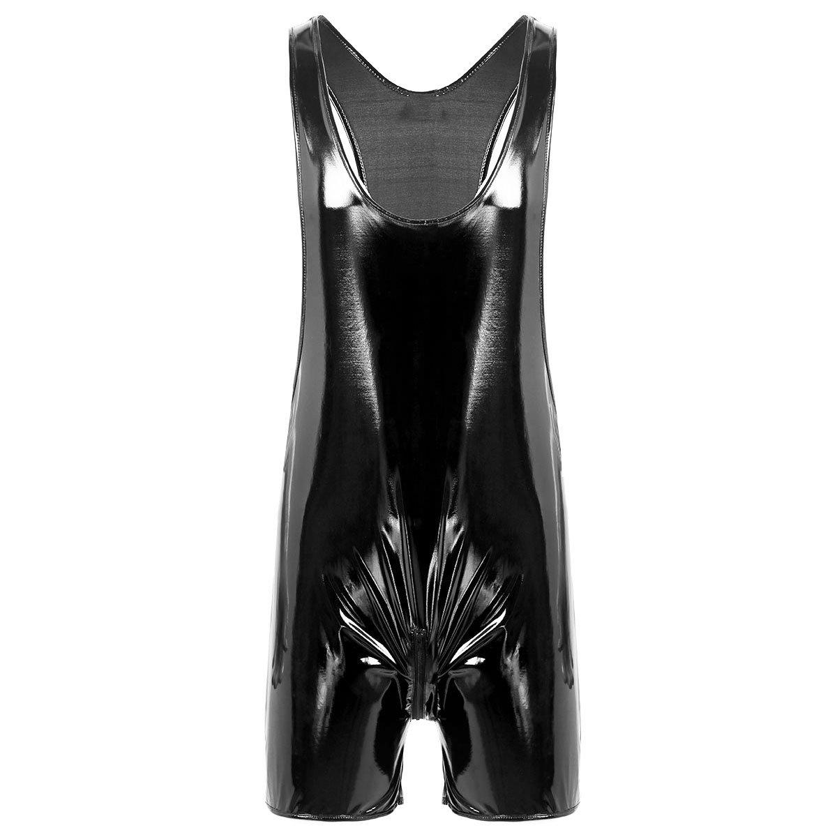 FEESHOW Mens Wet Look PVC Leather Butcher Zipper Crotch Romper Bodysuit Clubwear Black Large