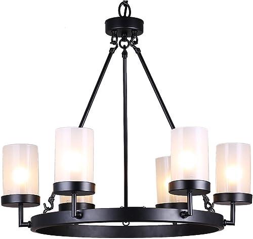 Eliana 6-Light Black Linear Glass Globe Chandelier