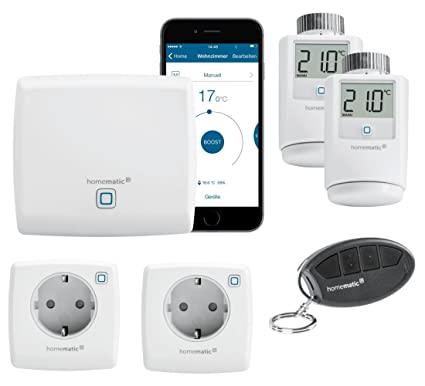 HomeMatic IP Smart Home Sistema con Gratis Smartphone aplicación. Incluye: Central, 2 termostatos