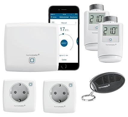 HomeMatic IP Smart Home Sistema con Gratis Smartphone aplicación. Incluye: Central, 2 termostatos