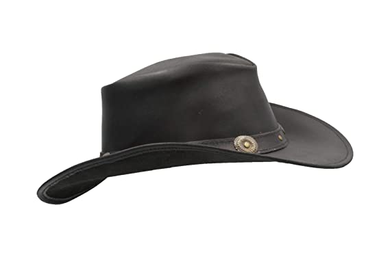 ee00637e Walker and Hawkes - Leather Cowhide Outback Cowboy Conchos Hat - Black - S  (57cm