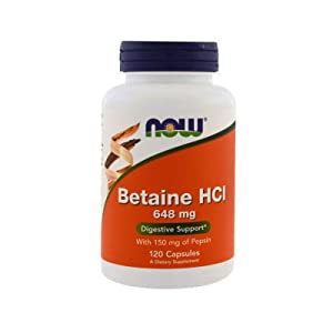 NOW Supplements, Betaine HCl 648 mg, Vegetarian Formula, 120 Veg Capsules