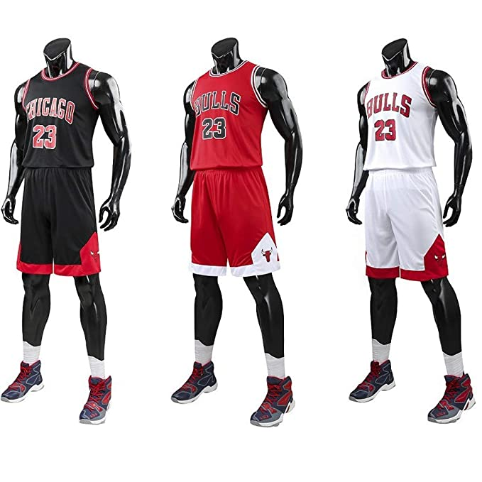Angel ZYJ NBA Bulls Jordan#23 Camiseta de Baloncesto para Hombres Chicago Bulls Retro Chaleco de Gimnasia Tops y Pantalones Deportivo