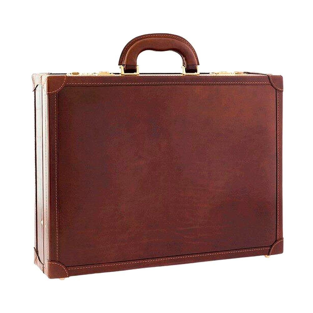 ChiarugiイタリアレザーブラウンVegetable Tanned Leather briefcase-新しいYork 24h B07DN9YQ8J