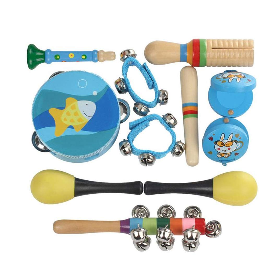 Toddler Musical Instruments Wooden Percussion Instruments Toy for Kids Preschool Educational, Musical Toys Set Blue by LiaoTI