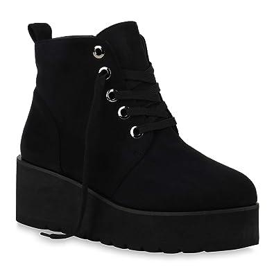 fc43b44ba786 Stiefelparadies Damen Stiefeletten Plateau Boots Profilsohle Flandell