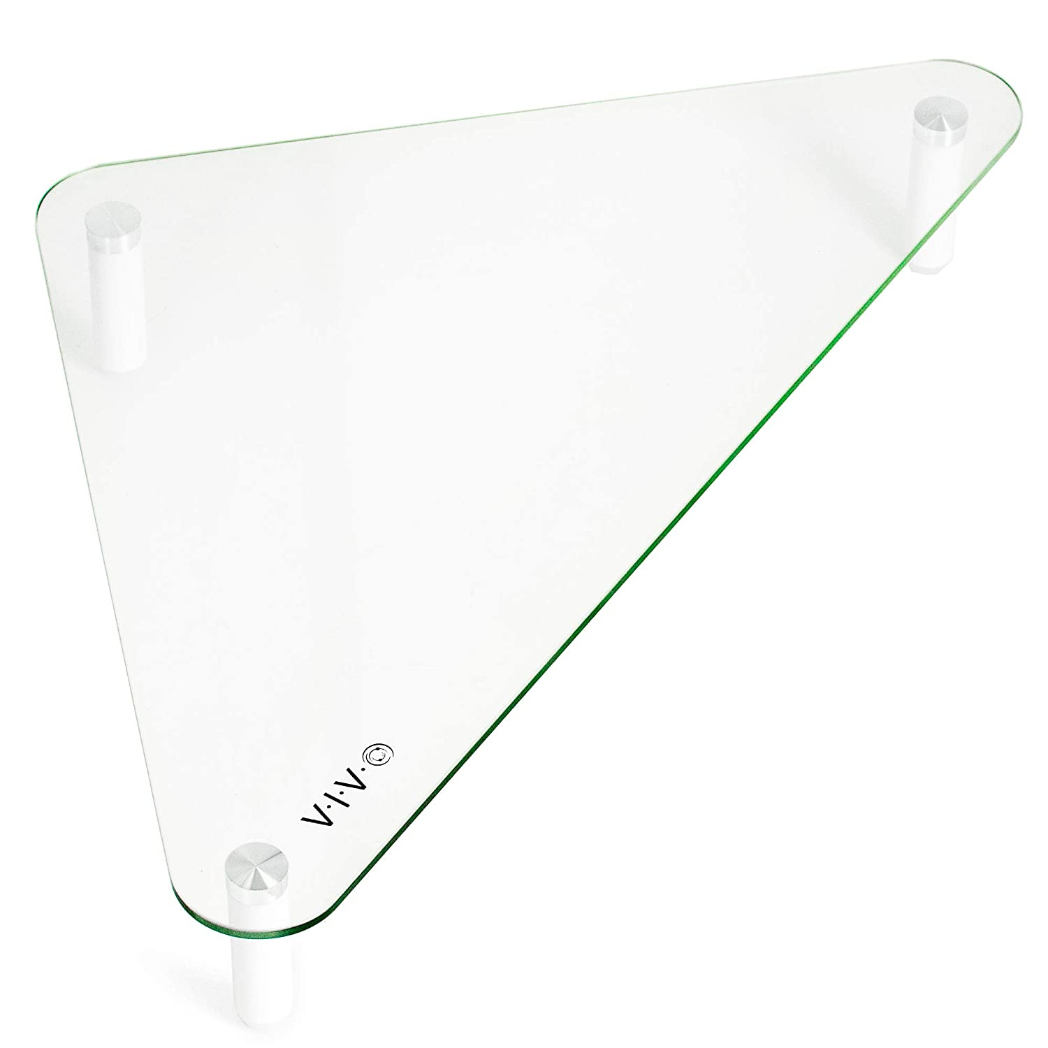 VIVO Glass Ergonomic Tabletop Riser | Triangle Desktop Universal Corner Stand for Computer Monitor and Laptop (STAND-V000Q)