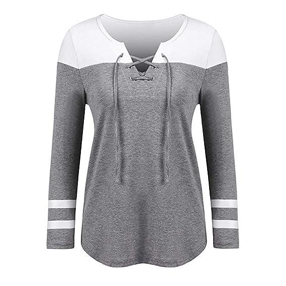 Camiseta de Manga Larga para Mujer, BBestseller Ropa Camisetas Mujer, Color sólido Camiseta de