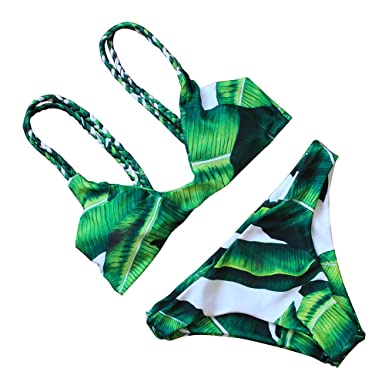 632b54a92fab7 JIANLANPTT Women s Swimwear Swimsuit Sexy Brazilian Top Push Up Bikini Set Green  Leaf Print S
