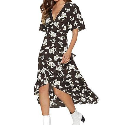 bc4830a6d5a3 Amazon.com  JESPER Fashion Women Boho Dress Floral V Neck Waist ...