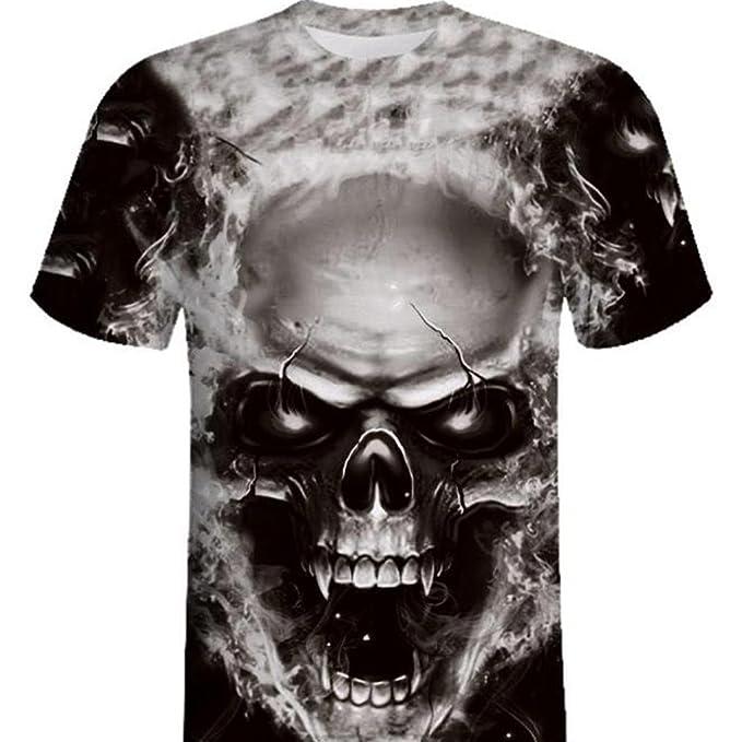 Camiseta para Hombre,RETUROM Camisa de Manga Corta de la Camiseta de la Manga de la Camiseta de la Impresión del Cráneo 3D para Hombre: Amazon.es: Ropa y ...