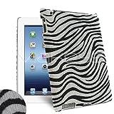 Femeto Black & White Zebra Sytle Faux Fur Back Cover Case for Apple iPad 4 / iPad 3 / iPad 2
