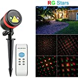 Waterproof Outdoor LED Red & Green Star Laser Lights Shower with Remote Controller,for Christmas, Halloween, Holiday, Party and Garden Lawn Decorations