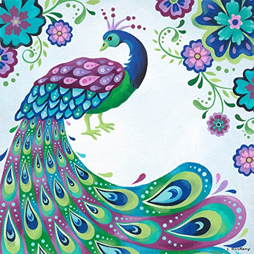 Oopsy Daisy Floral Peacock by Steve Haskamp Canvas Wall Art,