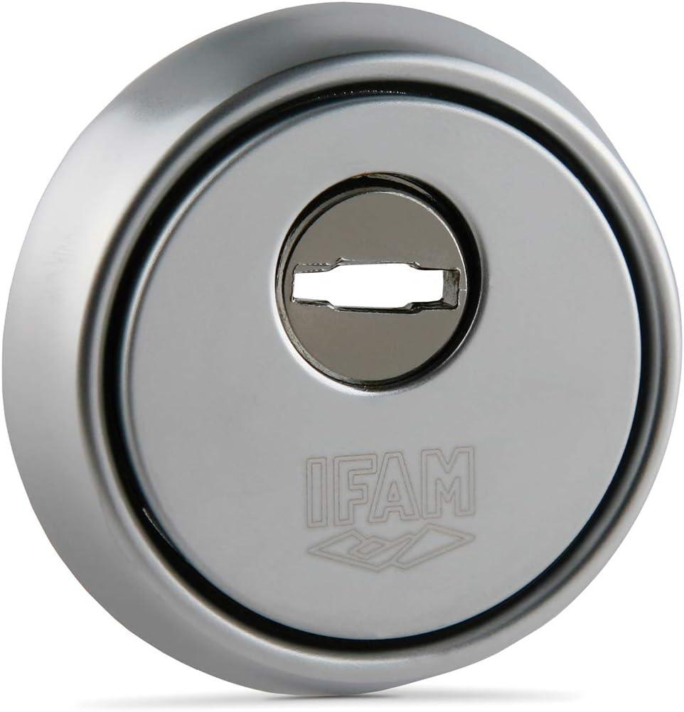 Ifam ES610CM (025018)- Escudo de seguridad para puertas, núcleo reforzado de acero antitaladro, embellecedor antimordaza y antiextracción, acabado cromado, Cromo