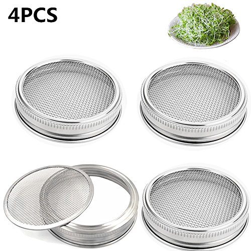 Set of 4 Stainless Steel Sprouting Jar Lid Kit for Superb Ventilation Fit for Wide Mouth Mason Jars Canning Jars for making organic sprout seeds in your house/kitchen by CHBKT