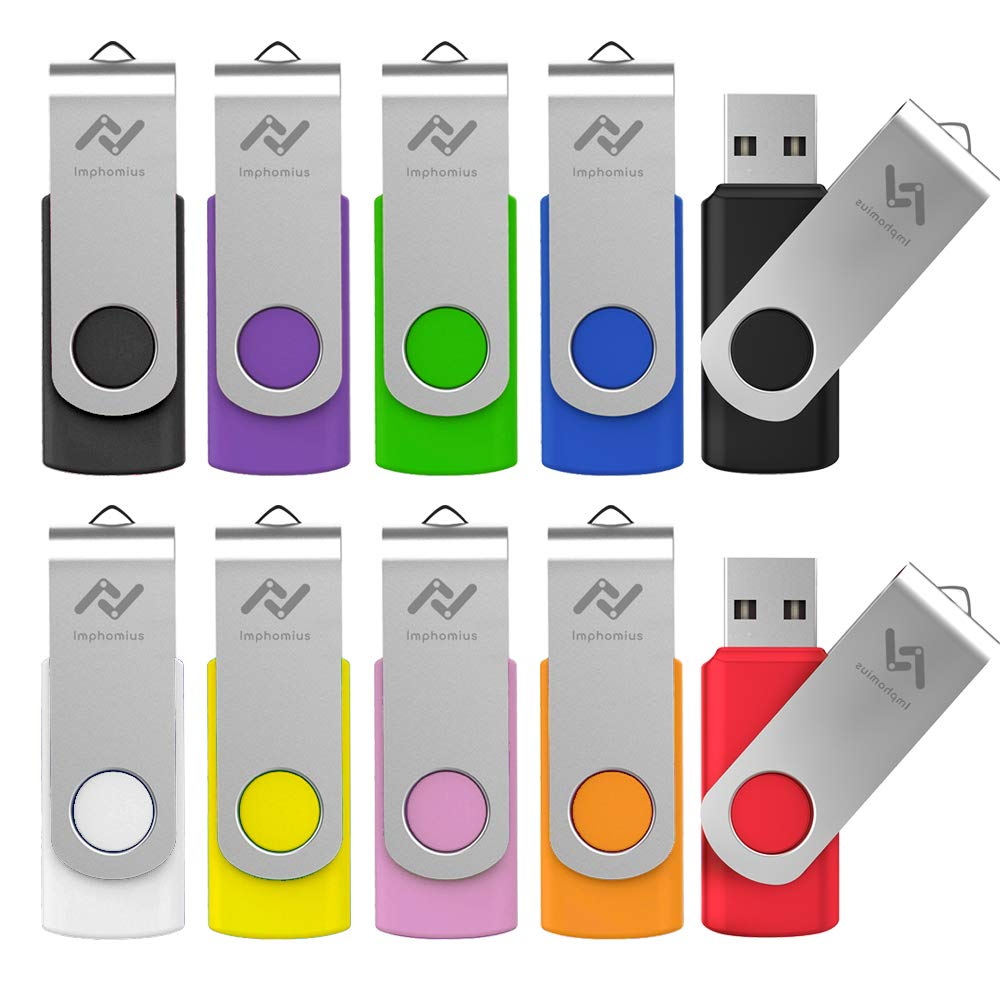 Flash Drives 16GB 10 Pack in Bulk USB 2.0 Thumb Drive 16 GB Jump Drive Memory Drive Zip Drive with LED Light for Storage by Imphomius - 10Pack,Multicoloured