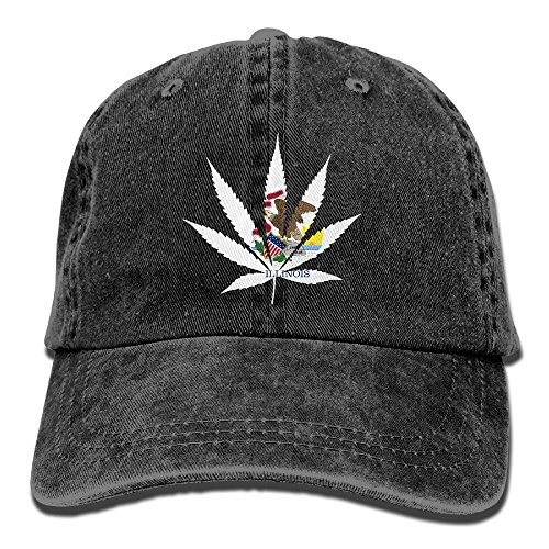 PINE-TREE-CAP Marijuana Illinois Flag Dad Hat Baseball Cap Trucker Cap Washed Denim Cotton Adjustable Black