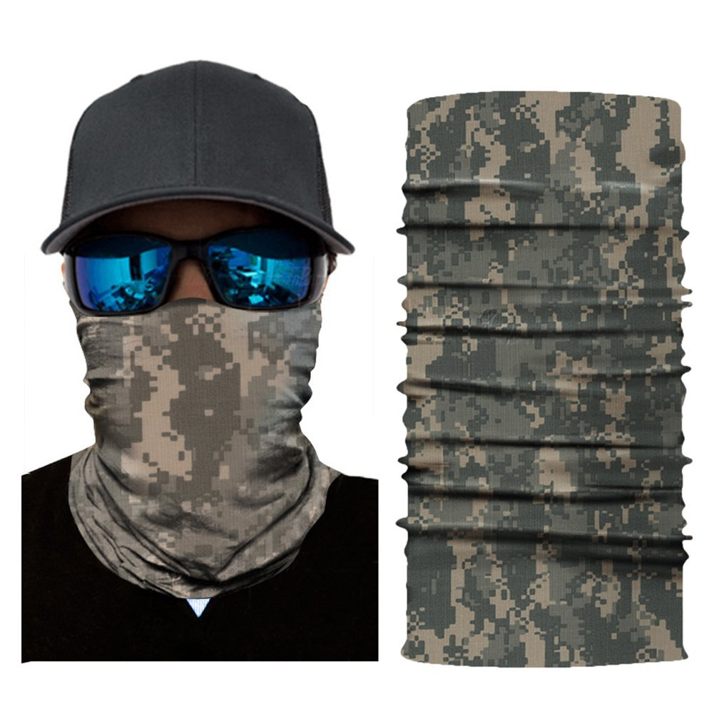 Jlong Camo Neck Gaiter Sun Protection for Men, Seamless Fishing Mask Face Shield Anti-Mosquito, Face Mask for Camping, Hiking, Cycling, Fishing, Skiing, Motorcycle
