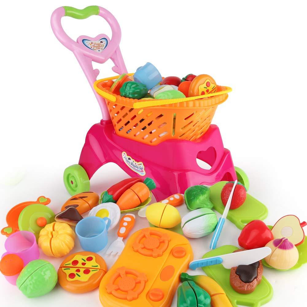 JoyGrow おままごとカット玩具 31個 ショッピングカート 遊び 食べ物おもちゃ 食品&キッチンおもちゃ 男の子と女の子用   B07G85S499