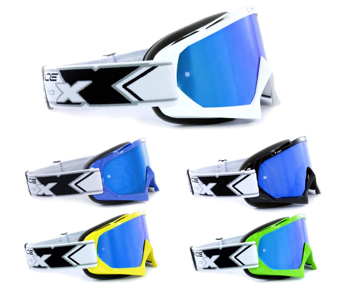 Two x Race Blue Ice Mirror/  / MX Motocross Enduro Motorcycle Goggles Anti Scratch Mirror Glass MX Dirt Bike Goggles Protective Glasses