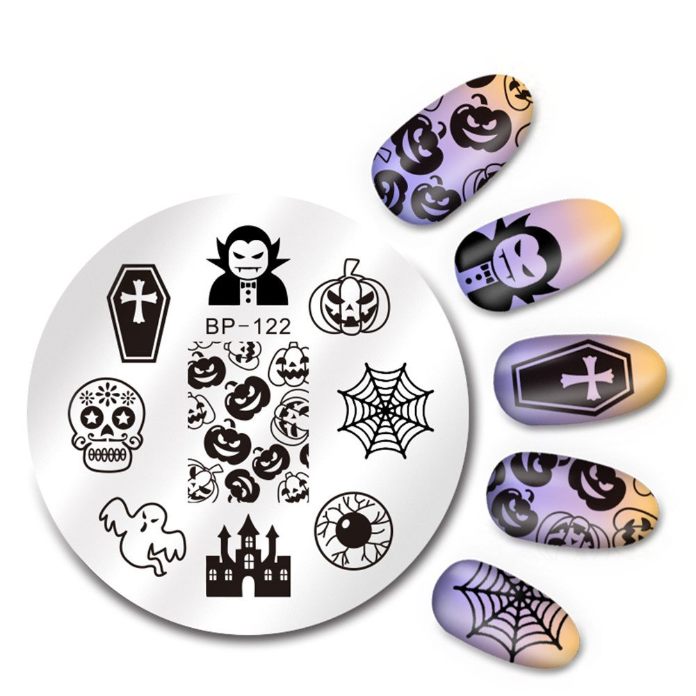 BORN PRETTY Nail Art Stamping Plate Halloween Pumpkin Cobweb Skull Round Template Image Plate for Manicure DIY Print