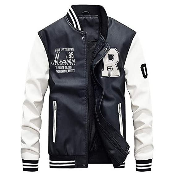 Leather Jacket Men Moto Biker Bomber Jackets at Amazon Mens Clothing store: