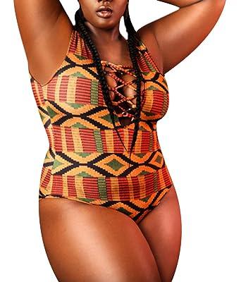 ce9cd88eeb2e0 Women's African Tribal Kente Printed High Cut Padded One Piece Swimsuit  Swimwear XXL