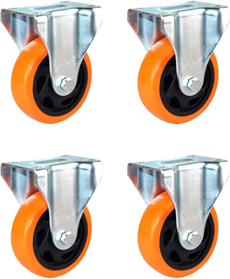 4 inch 5 inch Medium-Sized Polyurethane Directional Wheel Mute Heavy-Duty Wheel Flat-top Hand-Pushing Wheel for Furniture 4pcs Casters WANGTX