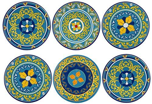 Melange 6-Piece 100% Melamine Dinner Plate Set (Gardens of Italy Collection ) | Shatter-Proof and Chip-Resistant Melamine Dinner Plates ()
