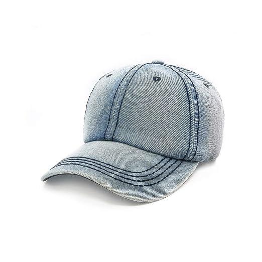 d335f88bcfc476 Proboths Baseball Cap, Vintage Unisex Denim Adjustable Washed Cotton Baseball  Cap Hat Light Blue