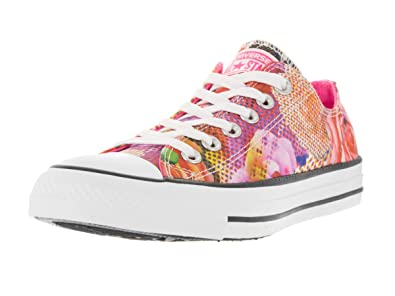 91c488492e841b Converse Womens Chuck Taylor All Star Digital Floral Ox White Neon P  Basketball Shoe 6.5