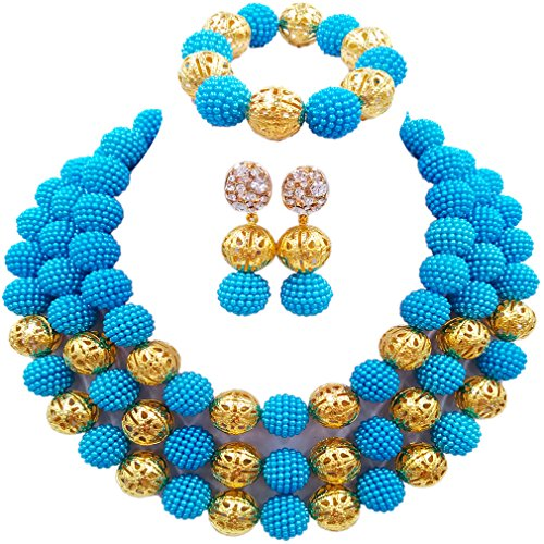 laanc Womens Fashion Gold Plated 3 Rows Nigerian Beads African Wedding Bridal Jewelry Sets (Lake (Halloween Three Song)