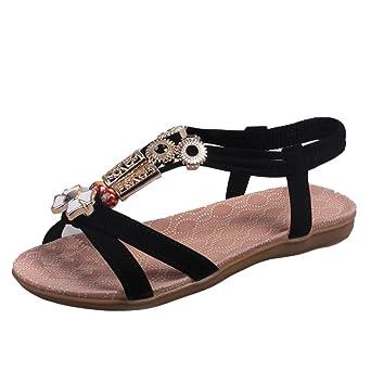 ZOEASHLEY Damen Zehentrenner Sandalen Bequem Sommer Bohemian Römische Sandaletten mit Absatz 2 cm Xj231qg