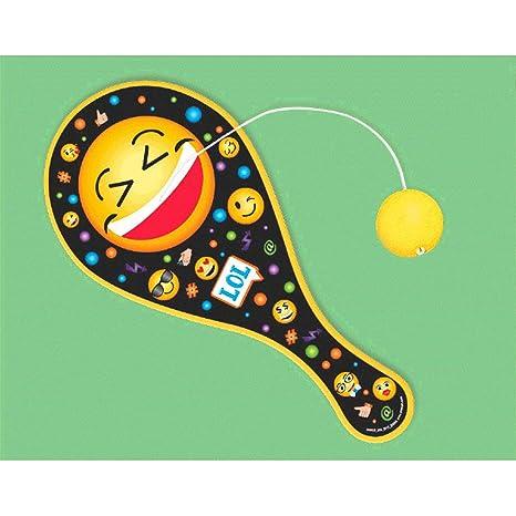 Amazon.com: Amscan Emoji Paddle Ball | Party Favor | 12 Ct ...