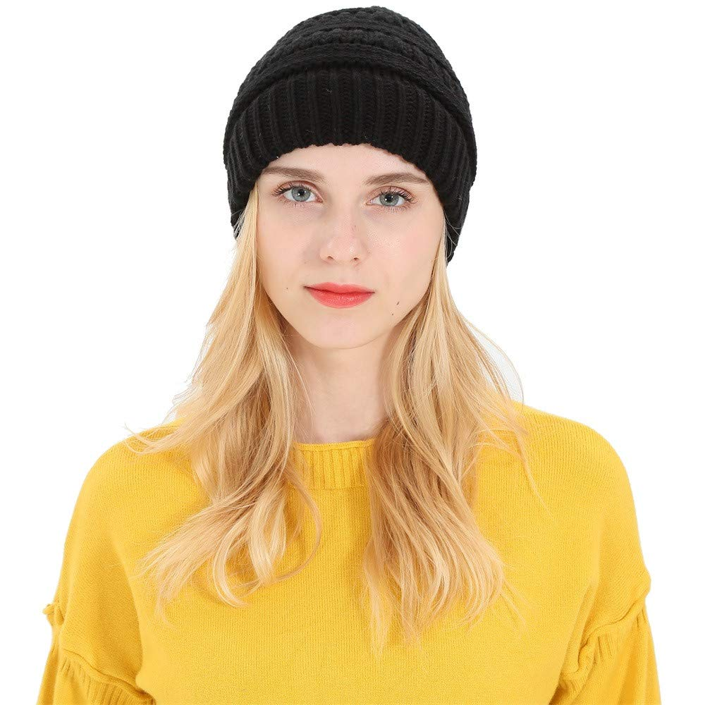 7ad66a997 Amazon.com: SUKEQ Women's Ponytail Messy Bun Beanie Tail Soft ...