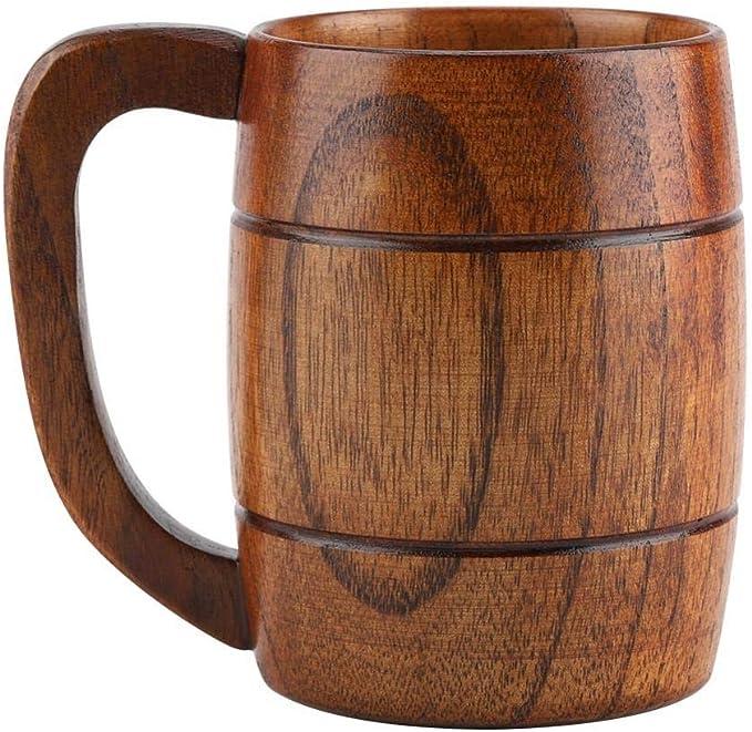 Sharplace 400ml Rustic Beer Mug Wooden Beer Mug Wedding Groomsmen Gift Handmade Mug