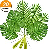 Frienda 10 Pack Artificial Tropical Palm Leaves and 10 Pack Artificial Monstera Leaves Faux Palm Tree Leaf Tropical Leaves Artificial Plant Leaves for Home Kitchen Party Decorations